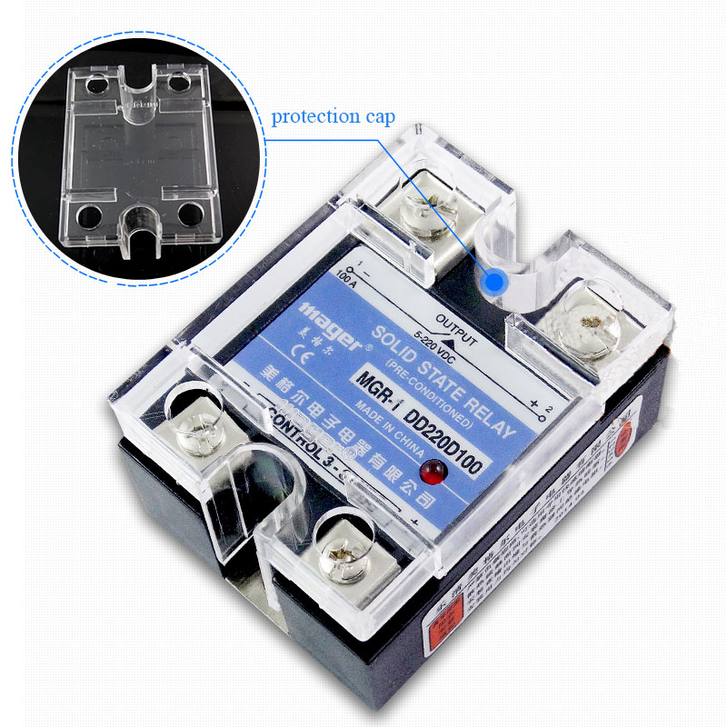 Free shipping 2pc 100A Industrial use Mager SSR 100A DC-DC Single phase solid state relay 100A Quality MGR-1 DD220D100 mager genuine new original ssr 80dd single phase solid state relay 24v dc controlled dc 80a mgr 1 dd220d80