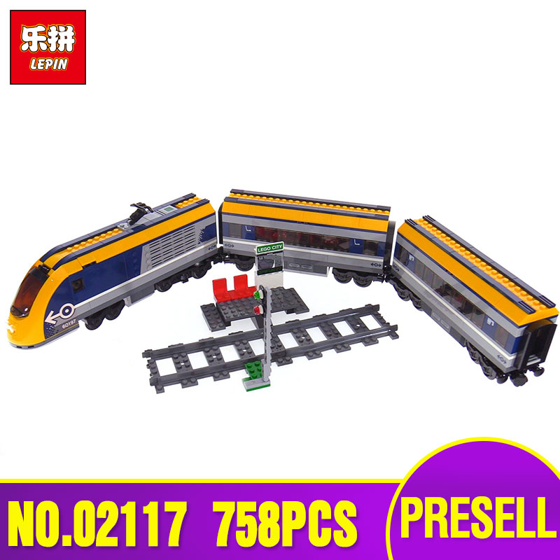 Lepin 02117 City Series The Legoingly 60197 Passenger Train Set Building Blocks Bricks Car Model Kids Toys New Christmas Gifts