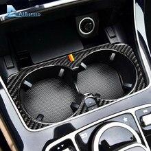 Autocollants de garniture de cadre intérieur de voiture en Fiber de carbone, accessoires Airspeed pour Mercedes Benz W205 classe C C180 C200 C300 GLC
