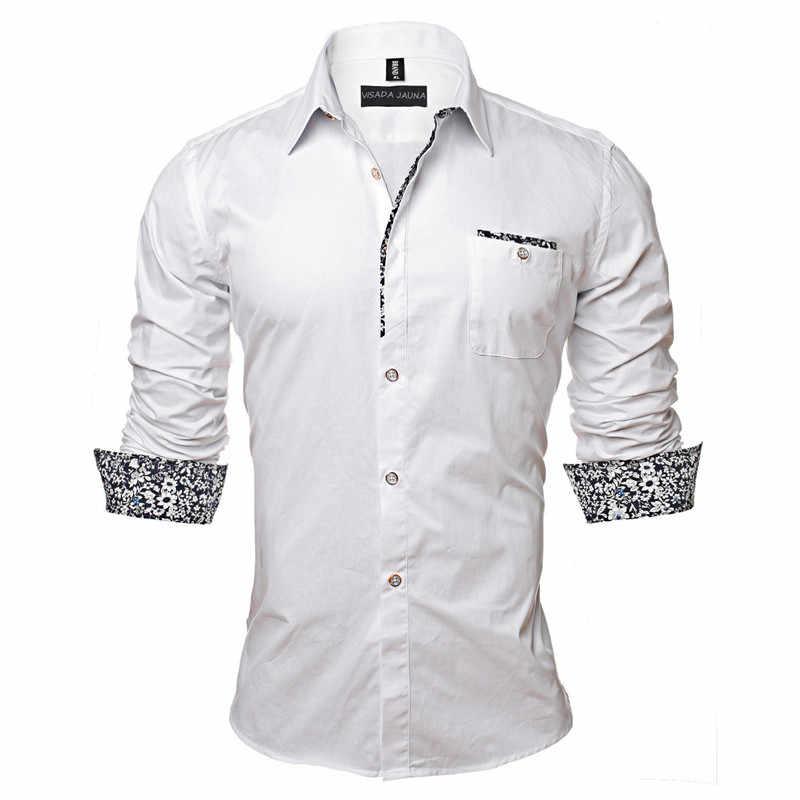 Visada Jauna 2017 Pria Kemeja Warna Solid Gaun Bisnis Kasual Slim Lengan Camisa Sosial Masculina Plus Ukuran 5Xl n128
