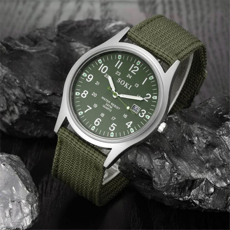 Canvas Mens Watches Top Brand Luxury Analog Quartz Watch For Man Big Dial  Mens Watch Nice Military Army Men  #4A23