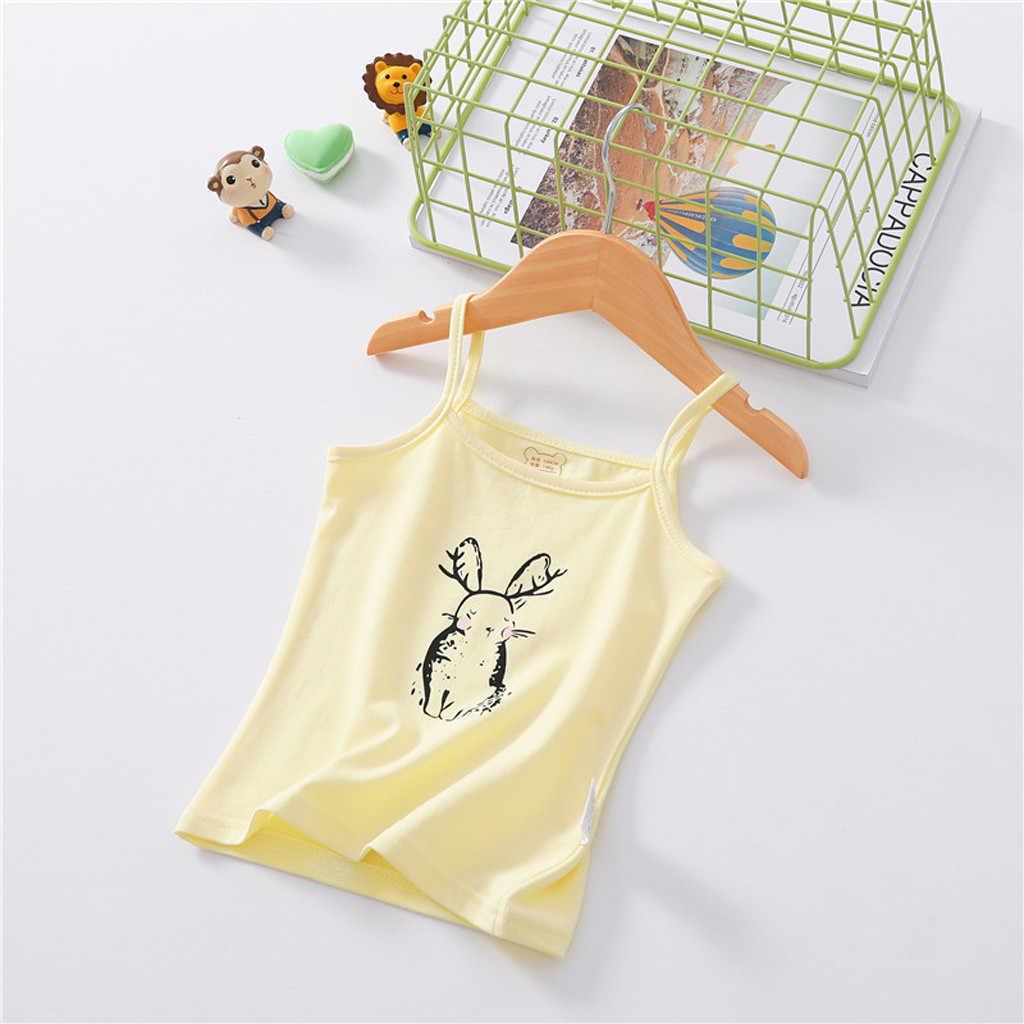 Miúdos das crianças do bebê roupas de menina Sem Mangas Doces T-shirt da Cor do Colete Undershirt Tops Vestuário Infantil meninas roupas Dropshipping