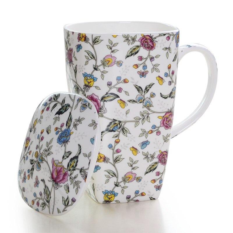 Bone china tea cup large capacity ceramic coffee mug with cover porcelain drinkware