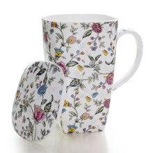 Tea-Cups Cover Coffee-Mugs 700ML Procelain Drinkware Handpainted with Large-Capacity