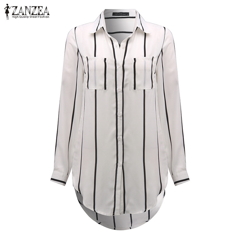 ZANZEA Women 2016 Autumn Sexy Casual Loose Long Blouse Shirts Turn-down Collar Long Sleeve Pinstripe Asymmetric Blusas Tops