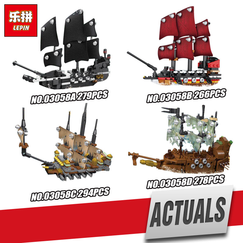 Lepin 03058 Genuine Movie Series The legoing 4 In 1 Black Pearl Queen Anne's Reveage Slient Mary Ship Set Building Blocks Brick moc lepin 16009 1151pcs pirates ship queen anne s reveage ship model building kits set blocks brick toys gift 4195
