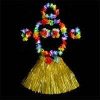 Women Girls 40cm Hawaiian Hula Fancy Dress Costume Flower Garland Bra Wristbands Headband Wedding Birthday Party Favors
