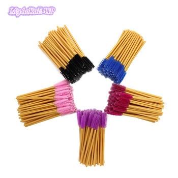 1000pcs Makeup Eyelash Brushes Disposable Mascara Brushes Nylon Eyelash Comb Brushes Gold Wands Make Up brushes Tool Mix Colors фото