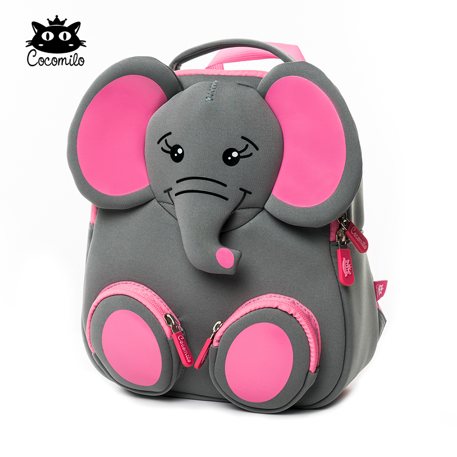 3D Happy Elephant Model School Big Waterproof Zoo Animals Design Mochila Infantil Fashion Anti Lost Gift for Toddler Kids Small(China)