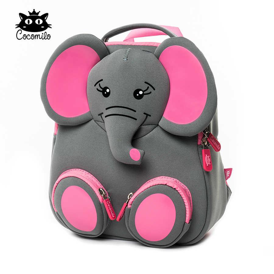 3D Happy Elephant Projeto Animais Do Jardim Zoológico Mochila Infantil Escola Modelo Grande À Prova D' Água Moda Anti Perdido Presente para Criança Crianças Pequenas
