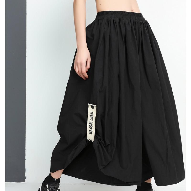 SHENGPALAE 2018 New Summer Autumn High Elastic Waist Black Printed Loose Big Size Wide Leg <font><b>Pants</b></font> Ladies Fashion Women JE92701