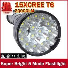 8000 lumens 15 x XM T6 led 5 modos de luz à prova dwaterproof água super brilhante lanterna tocha com 1200m distância iluminação