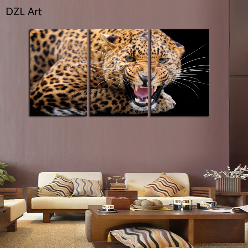 Affordable Wall Decor: Unframed 3 Sets Ferocious Leopard Canvas Painting Art
