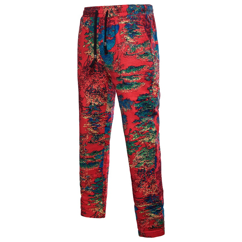 LASPERAL Trousers Sweatpants Joggers Street-Linen Colorful Plus-Size Mens Casual Cool