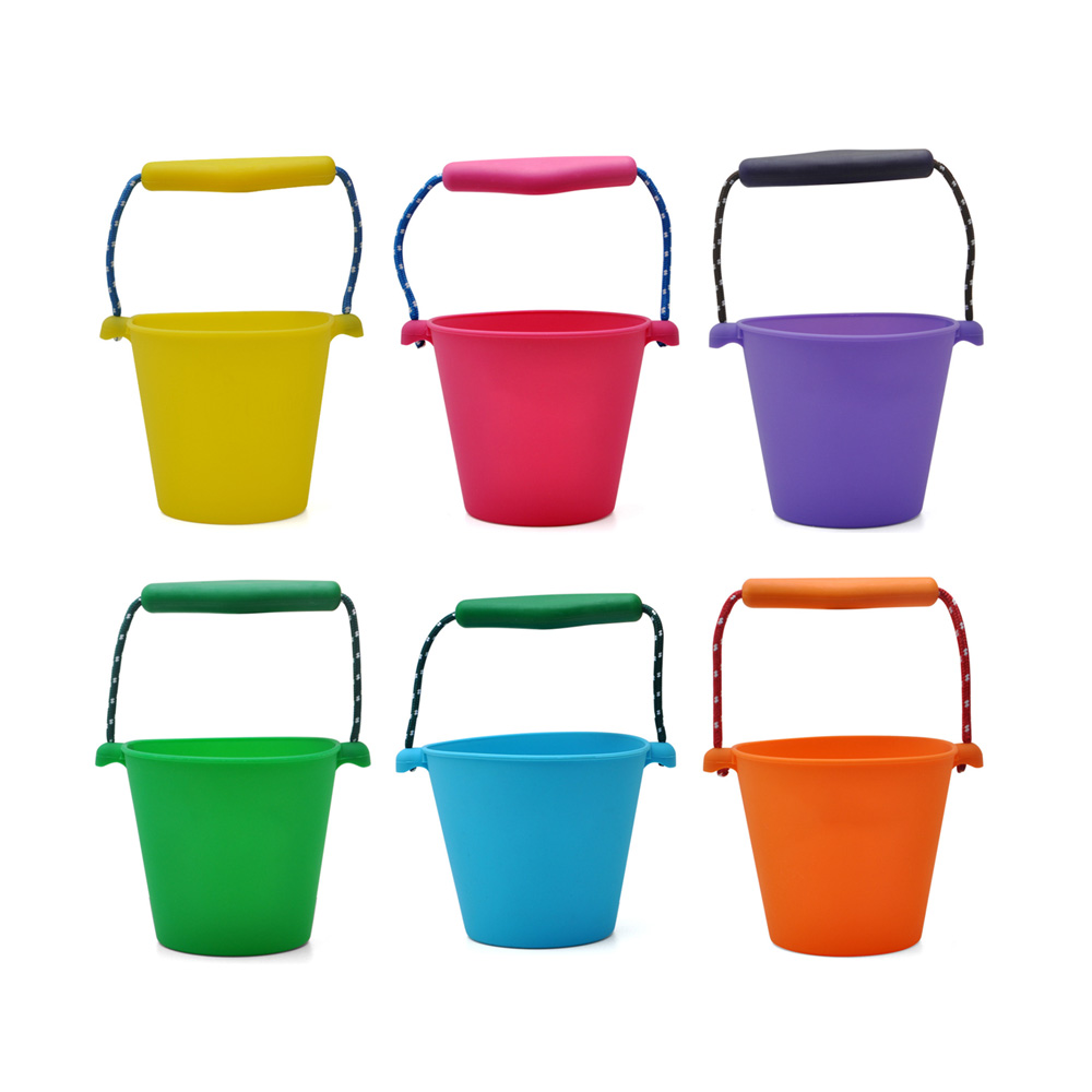 Bath Toy For Children 6 Colors Beach Bucket Silicone Folding Hand-held Barrel Baby Shower BathToy Sand Dabbling Pour Water Toy