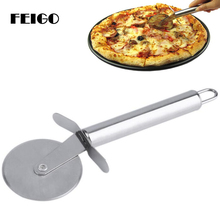 FEIGO 1Pcs Pizza Cutter Stainless Steel Pizza Knife Cake Bread Pies Round Knife Cutter Pizza Tool Pizza Wheels Cooking Tool F116 цена и фото