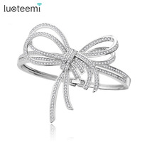 Teemi Newest Elegant Europe Bangle Full Shining CZ Bowknot Shape Bracelet White Gold Plated Sweety Jewelry