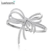 Teemi Newest Elegant Europe Bangle Full Shining CZ Bowknot Shape Bracelet White Gold Plated Sweety Jewelry