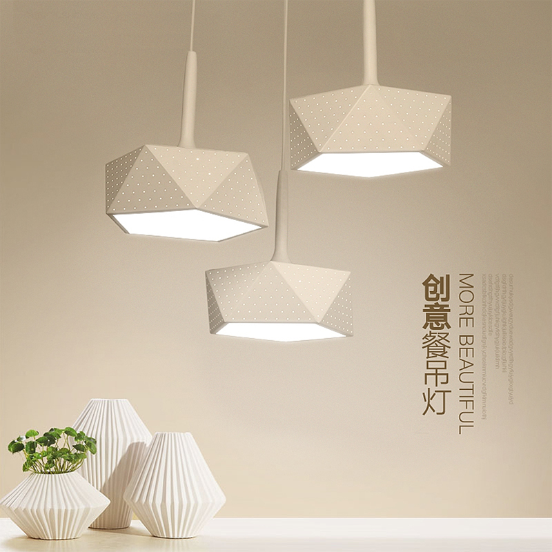 New modern led pendant lights for kitchen bar living room, creative led pendant lamp iron+PVC shade round/square/polyhedron
