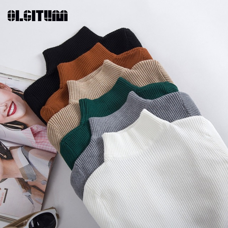 New Fashion Autumn Winter Women Pullovers Sweater Slim Half-neck Warm Female Knitted Elasticity Sweaters Casual Jumper