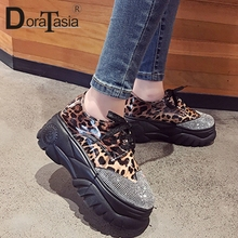 DORATASIA 2019 New Arrival Thick Platform Shoes Ladies INS Hot Leopard Sneakers Girl Fashion Crystal Women Woman