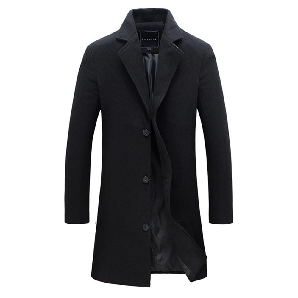 19 Fashion Men's Wool Coat Winter Warm Solid Color Long Trench Jacket Male Single Breasted Business Casual Overcoat Parka 2
