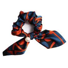 купить Women Female Handmade Hair Band Hair Tie Pearl Ponytail Holder Bowknot Hair Accessories по цене 41.73 рублей
