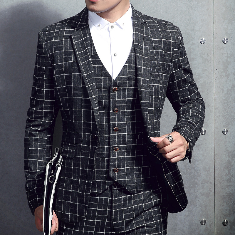 3 Pieces Plaid Check Men Suit Vintage Retro Men Tuxedo Suit Heren Kostuums Smoking Uomo Business Office Suit Traje Novio