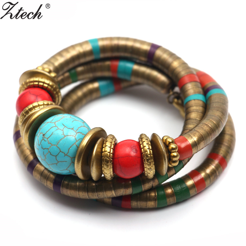 Ztech Fashions Vintage Decoration For Women Girls Tibetan Bracelets & Bangles Inlay Roundness Bead Adjust Bangle Wholesale