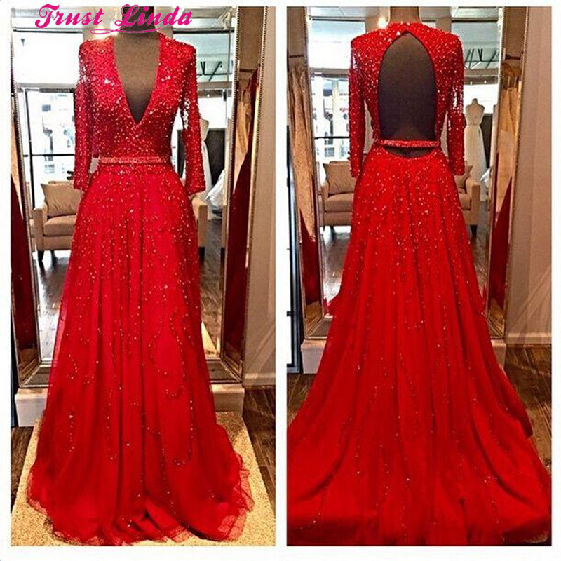Red Long Sleeves Mother Dresses Beads Sequins V-Neck Open Backless Crystal Dress