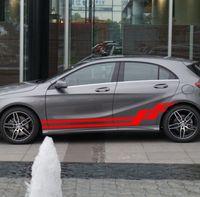 HotMeiNi 200CM*30CM 2 X Car Rally Cross stripes Lower Door Panels Decal Sticker Graphics Car Stickers