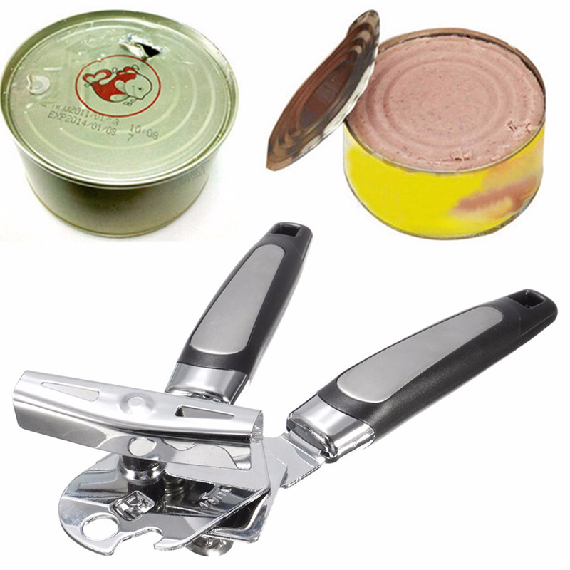 Stainless Steel Kitchen Bar Can Opener Tin Bottle Cap Lid Cover Opener Canister Beer Can Openers Easy Grip Tools Kitchenware