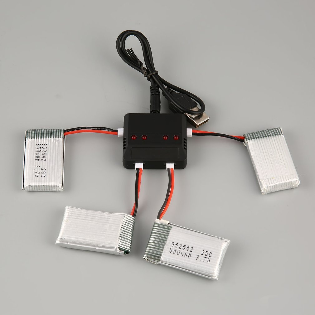 New Upgraded <font><b>Lipo</b></font> <font><b>Battery</b></font> Standard Charger Sets+ 4pcs <font><b>3.7V</b></font> <font><b>850mAh</b></font> <font><b>Battery</b></font> for Syma X5C X5C X5SC X5SW Drone Toys image