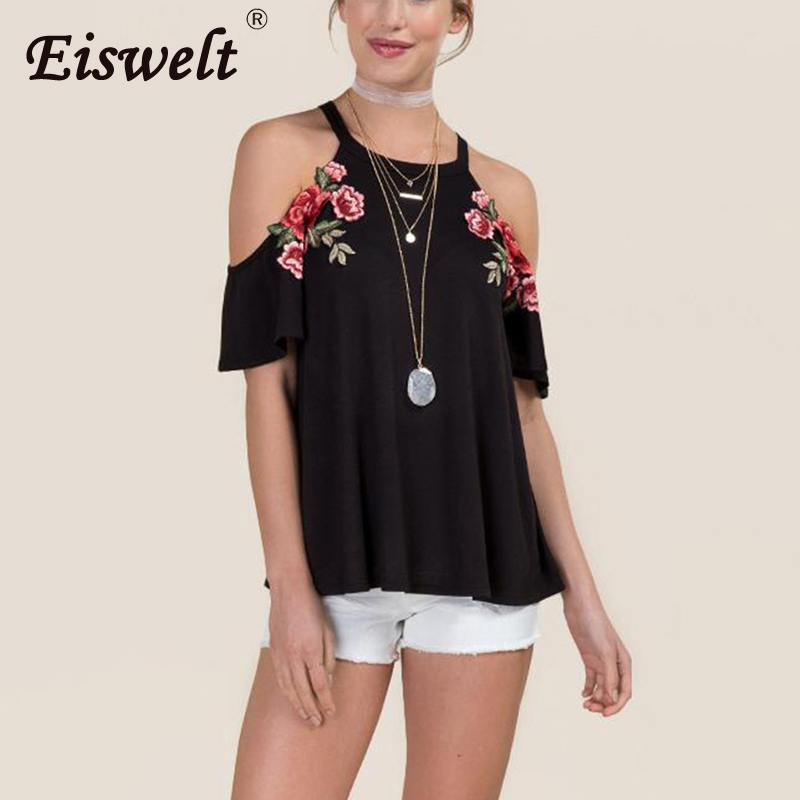 b23ab723 EISWELT Embroidered Rose Patch Cold Shoulder Tee Shirt Ladies Short Sleeve  Crop Top Women Tops Summer 2018 Navy Sexy T-shirt