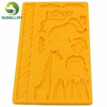 3D Silicone Mold Animal Giraffe Elephant Monkey Lion Cake Decorating Tools Fondant Lace Decoration Soap Wilton