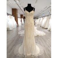 Luxury Crystal Beaded Wedding Dress Spaghetti Strap Sheath Low Back Bridal Gown