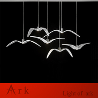 Individuality creative designer contemporary restaurant drop light single sea gull led chandelier Abstract bird pendant lamp
