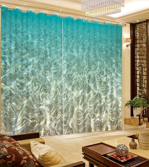 Home Decor Modern Curtains Custom The Sea Green Wave Bedroom Blackout Blue Room