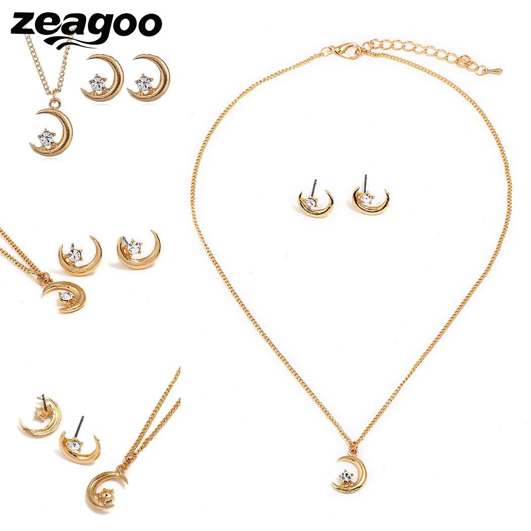 Moon Fashion Necklaces Set Women Ear Stud Pendant Chain Rhinestone Link - Click Image to Close