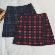 Women Sexy Thin Red Square Lattice Package Hip Skirts Short Woolen Skirt Female Women Skirt Winter Lady High Waist Skirt TT55