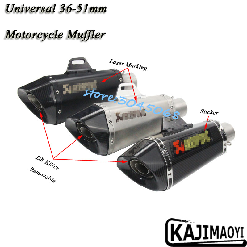 Universal 36-51mm Motorcycle Exhaust Pipe Escape Modified Laser Marking Muffler With DB Killer Sticker For Z800 R6 MT-09 CBR300