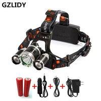 Rechargeable Headlight 5000Lm Xm 3 T6 HeadLamp Head Light Fishing Lamp Hunting Lantern 2x 18650 Battery