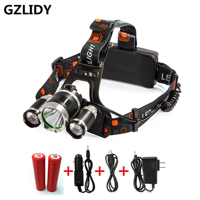 Rechargeable Headlight 5000Lm xm-3 T6 HeadLamp head light Fishing Lamp Hunting Lantern +2x 18650 battery +Car/AC/USB Charger