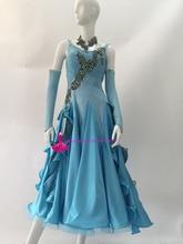 Lake Blue Standard Ballroom Dance Dresses Adult High Quality Custom Made Competition Tango Waltz Ballroom Dancing Dress