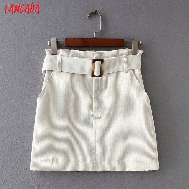 Tangada mode femmes blanc mini jupe en velours taille haute ceintures poche streetwear décontracté automne marque femelle 2XN14