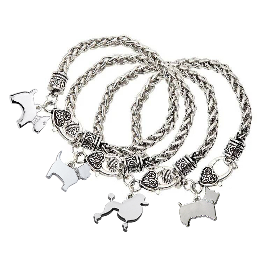 Jewelry Lover Yorkshire Terrier charm bracelets for women men silver pet dog pendant Lobster Clasp Bracelet best friend gifts bracelet