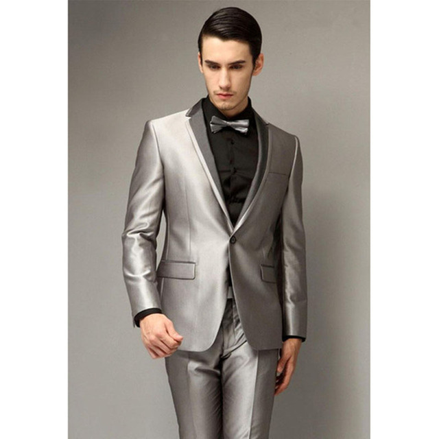 2018 New Single Breasted Silver grey Wedding Men Suits Tuxedo Best Young  Mens Party Wear Blazer suit smoking (Jacket+Pants+Bow) 8e847b07e