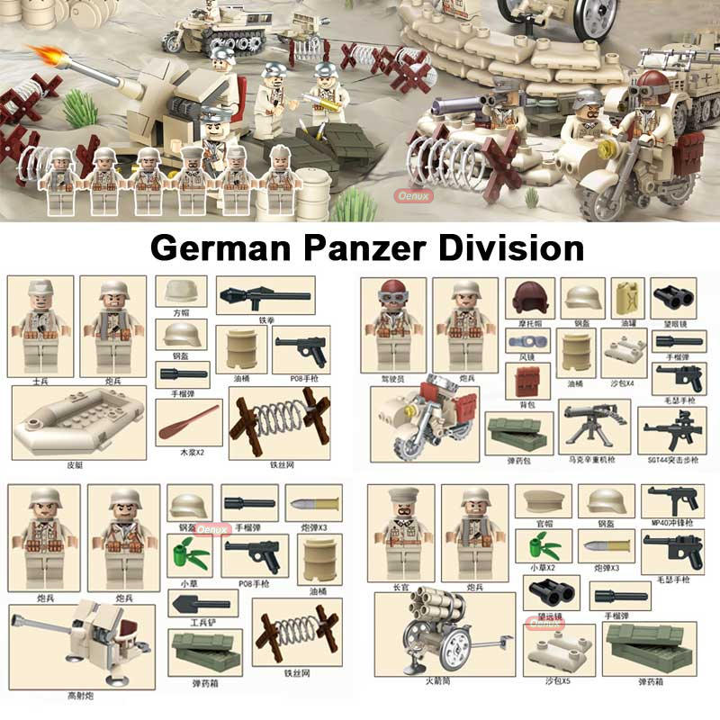 New Arrival WW2 North Campaign Tunisia Campaign War Military Toy German Panzer Division Figure Building Block Brick DIY Kid Toy