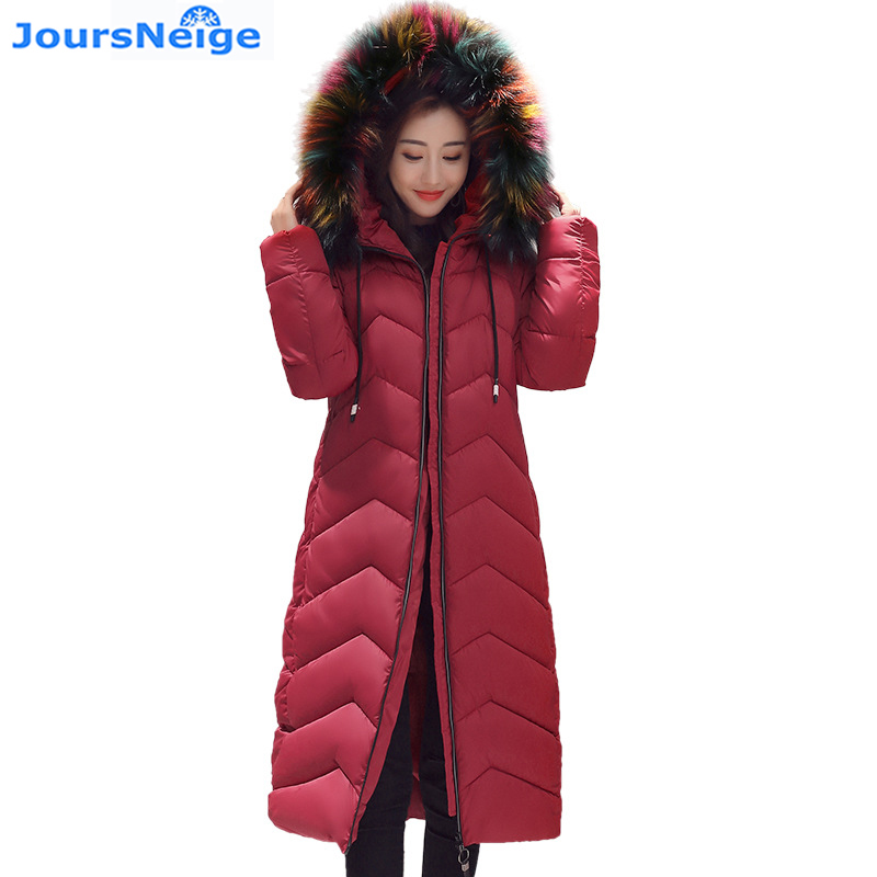 2017 New Woman Winter Jackets and Coats Long Thick Large Raccoon Fur Hooded Collar Cotton Padded Parka Slim Down Jackets 2017 slim fit fashion mens fur parka mens jackets and coats black blue jaquetas masculina inverno cotton padded parka homme