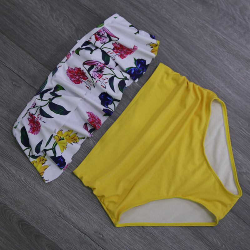 2019 New Bikinis Women Swimsuit High Waist Bathing Suit Plus Size Swimwear Push Up Bikini Set Vintage Beach Wear Biquini 24